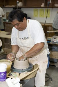 Raku Student At Pottery Wheel.